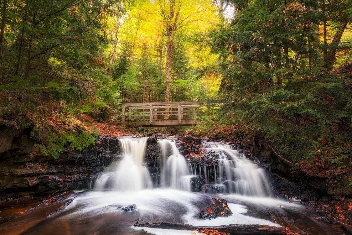Фото бесплатно Upper Chapel Falls, Michigan, осень - на рабочий стол