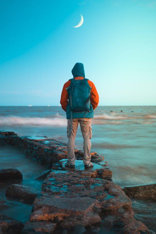 Free photo man, ocean, shore - to desktop