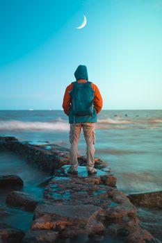 Photo free man, ocean, shore