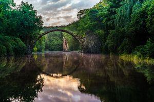 Бесплатные фото Чертов мост,Rakotzbr cke,Germany,Kromlau,Sachsen,Германия,Вальдзее