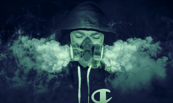 Фото бесплатно противогаз, дым, капюшон