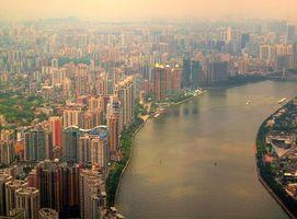 Заставки Гуанчжоу, Китай, река, городской пейзаж