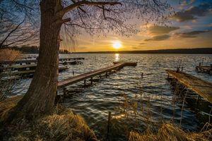 Фото бесплатно закат, пристань, пейзаж
