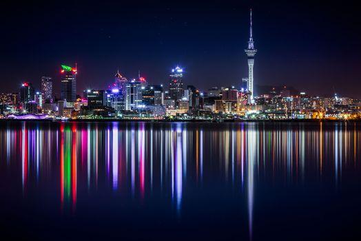 Бесплатные фото Новая Зеландия,панорама,небоскребы,здания,берег,освещение,new zealand,panorama,skyscrapers,buildings,shore,lighting