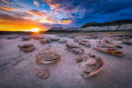 Фото бесплатно Восход солнца, пустыня Бисти, Нью-Мексико