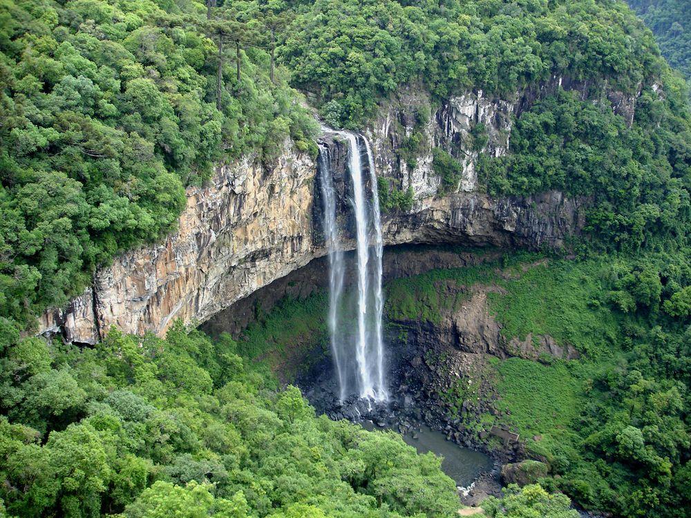 Обои водопад Каракол, Бразилия, штат Рио-Гранде-ду-Сул, скала, водопад, деревья, пейзаж, Бразильские водопады, панорама на телефон | картинки пейзажи - скачать
