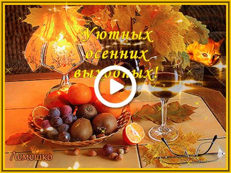 Postcard free fruit basket, vase with autumn leaves, wine flute