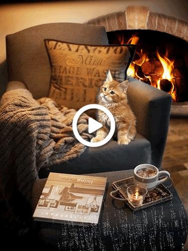 Postcard free inscription, instagram, fireplace