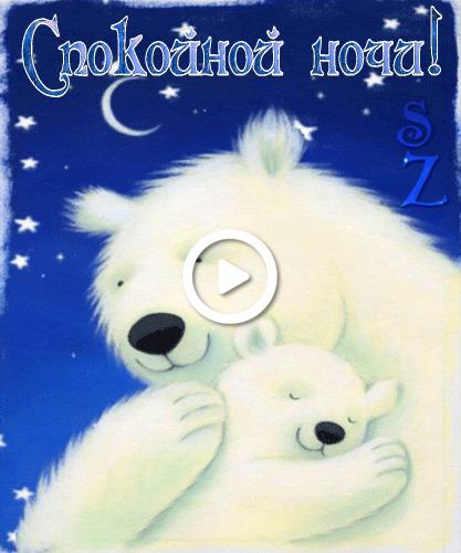 Postcard free good night, bears, request