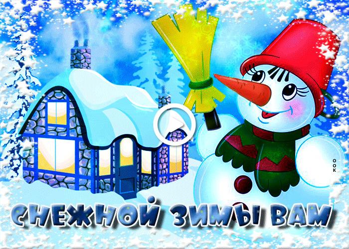 Postcard free snowy winter, snowman, snow