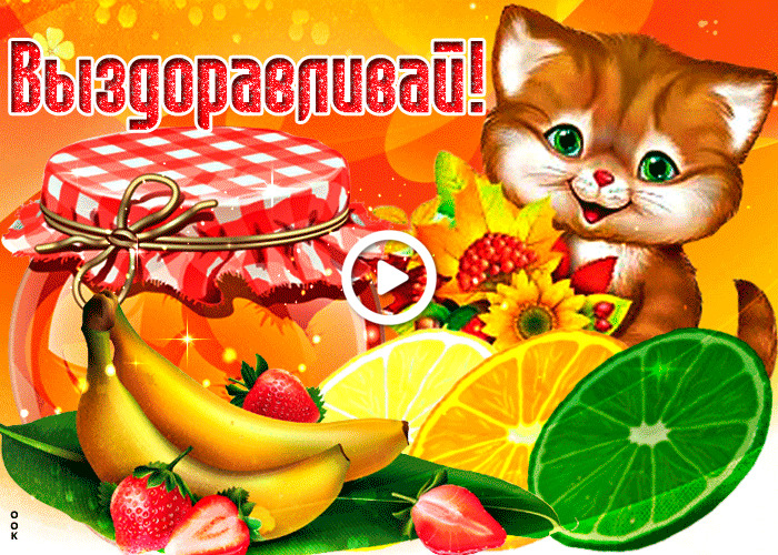 Postcard free get well with fruit, red cat, food