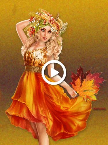 Postcard free kartinka, girl, leaf fall