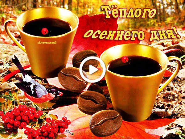 Postcard free coffee, on a warm autumn day, warm autumn day pictures