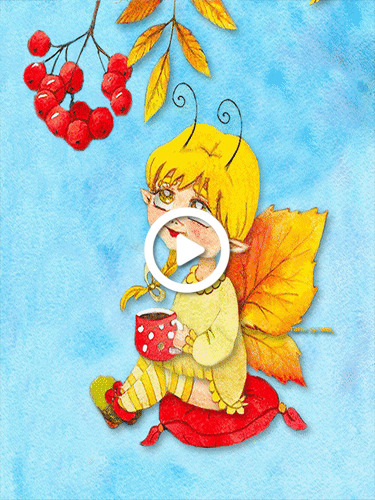 Postcard free kartinka, leaf fall, a boy