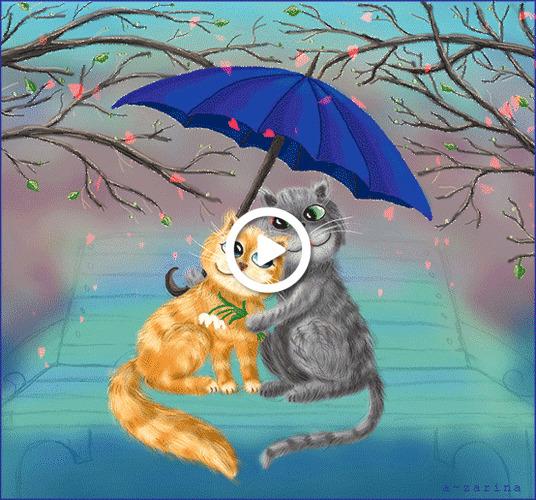 Postcard free umbrella, bench, flowers