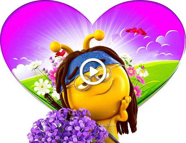 Postcard free original animation, for you, bouquet