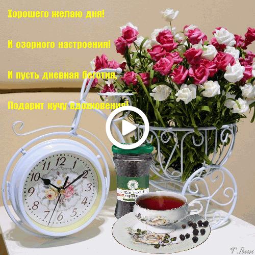 Postcard free good saturday morning, flowers, alarm clock